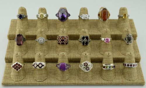 Lot of 18 Sterling Silver Multi Gemstone Statement Rings Bands Various Sz 5 6 7