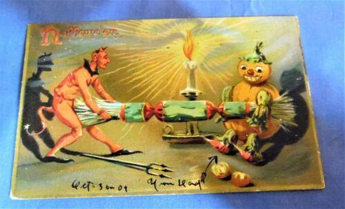 Antique Tucks Halloween Postcard Devil & JOL Pulling Firecracker   Free Shipping