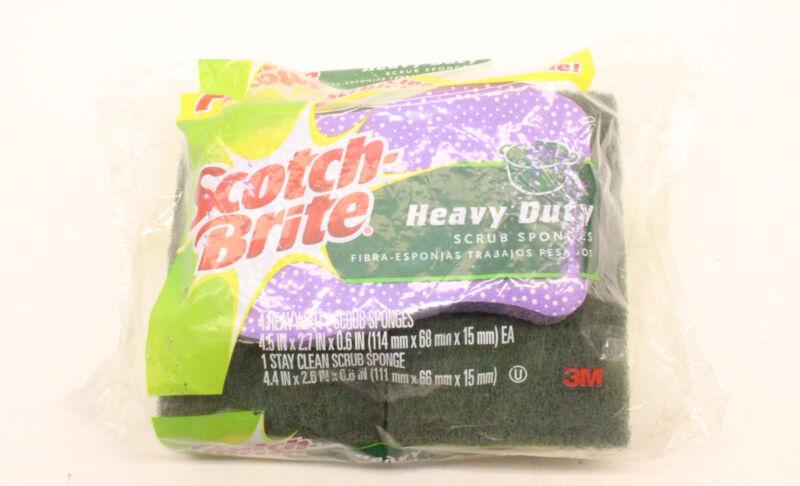 6 Pack Scotch Brite 4 Heavy Duty+1 Stay Clean Scrub Sponges MultiPurpose Cleaner