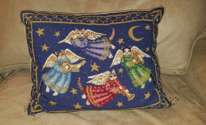 "Early Katha Diddel Angel Cats Christmas Rectangular Needlepoint Pillow 12""x17"""