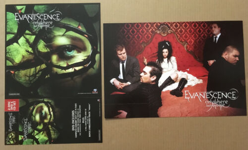 EVANESCENCE Rare 2004 DOUBLE SIDED PROMO POSTER FLAT for Anywhere CD 12x18 MINT