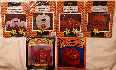 Halloween themed pumpkin lawn and leaf bags - you pick assorted new in package