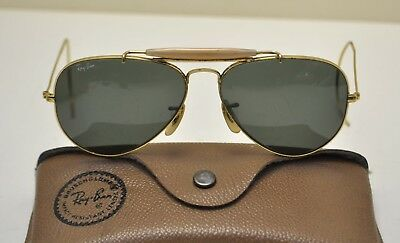 Original 60's B&L Ray-Ban Aviator Sunglasses 58 / 14 Gold Frame Green Lens USA