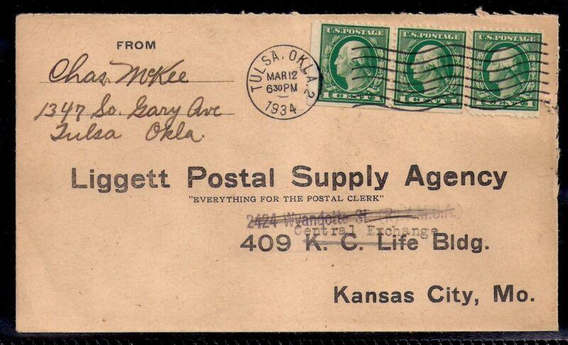1934 Tulsa, Oklahoma to Kansas City, MO - Liggett Postal Supply Agency - 498e