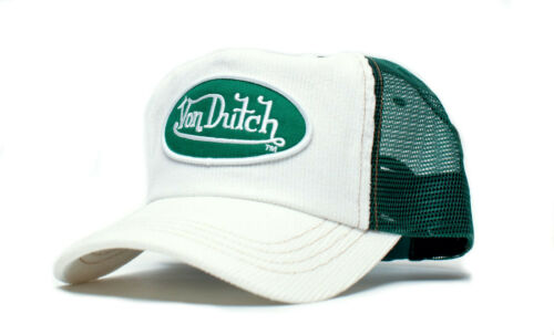 Authentic Brand New Von Dutch White Corduroy Forest Green Mesh Cap Hat Snapback