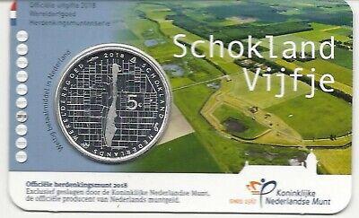 Nederland-pays-bas Coincard 5 euro 2018***Schokland Vijfje***