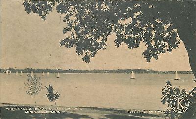 Minneapolis Minnesota~Lake Calhoun~White Sailboats~1940s? Kiwanis Postcard