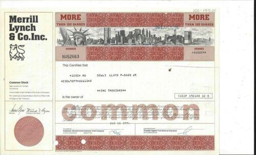 MERRILL LYNCH & CO. INC..........1974 COMMON STOCK CERTIFICATE