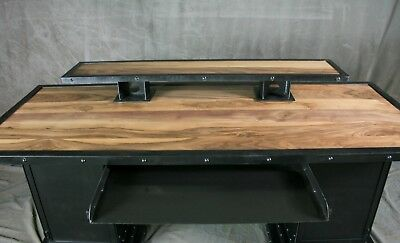 Desk With Storage Bases. Industrial Executive Desk. Walnut Wood And Steel.