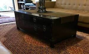 Oriental Asian decor dark wood and metal coffee table Chinese Marsfield Ryde Area Preview