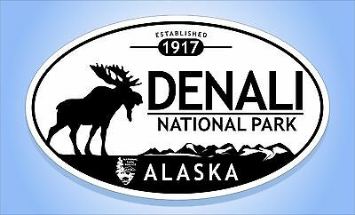 Denali Moose (DENALI NATIONAL PARK Alaska Moose Oval Sticker Euro Travel Decal 3-5/8