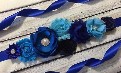 Shades of Blue Maternity Sash Belt / Baby Showers Belt /Flower Girl Sash - Girl Showers