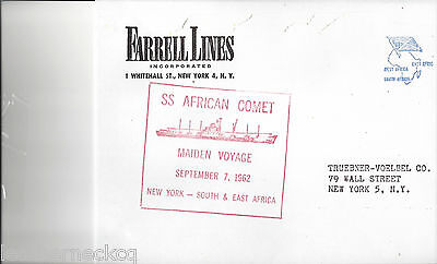 COVER. MAIDEN VOYAGE OF S.S. AFRICAN COMETNY TO CAPETOWN ,SOUTH AFRICA