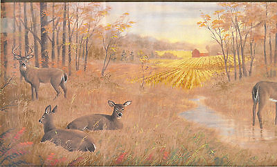 Autumn Border (DEER IN AUTUMN WOODS BY STREAM AND BARN  WALLPAPER)