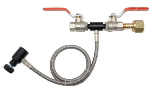 """G7 CO2 fill station Paintball Dual Valve Lever 36"""" Hose Stainless Braided"""