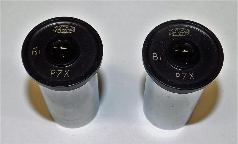 TWO OLYMPUS P7X OCULARS MICROSCOPE EYEPIECE OPTICAL OCULAR