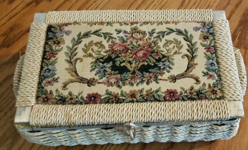 AZAR  Woven Wicker Sewing Basket Box w/ Floral Tapestry Padded Fabric Top -VTG
