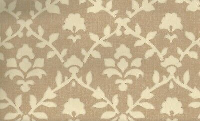 - Wallpaper Arts & Crafts Cream Floral Leaf Trellis on Brown Faux