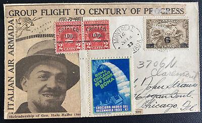 1933 Montreal Canada To Century Of Progress Flight Cover Gen Italo Balbo Label