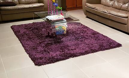 Purple / Aubergine /  Shaggy Plush Large Floor Rectangular Rug