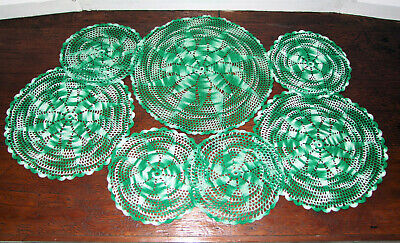 7x Vintage (1970s) Green/White Round Hand-crocheted Doilies/Mats. Crochet/Crafts