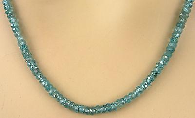 Natur Zirkon Kette Collier, Edelsteinkette, in blau, fac. 114,50ct. Sehr Selten