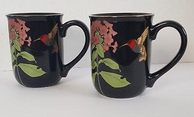 Otagiri Japan Coffee Mugs Humming Bird Black Flower Cup Vintage Gold