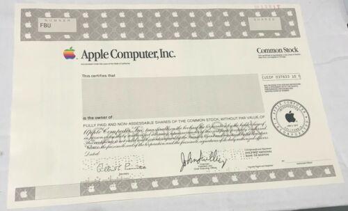 1988 APPLE COMPUTER INC. Odd Shares Specimen Stock Certificate