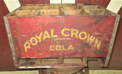 ANTIQUE COUNTRY USA ROYAL CROWN COLA SODA WOOD CRATE BOX BOTTLE HOLDER SIGN ART