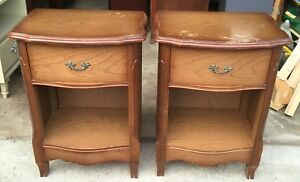Set Of Single Drawer French Provincial Vintage Nightstands