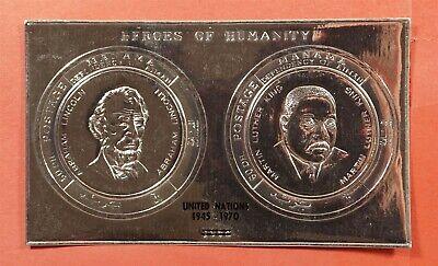 1970 MANAMA DEPENDENCY OF AJMAN SILVER FOIL LINCOLN + MLK UN OVPT MNH