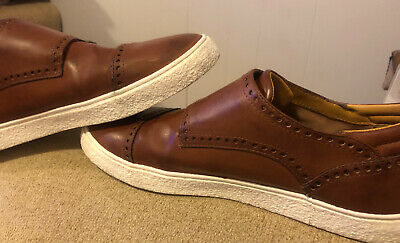 Zara Man Low Top Sneakers Shoes Lace Up US 12 EU 45  Brown Leather 👌👌niceShape