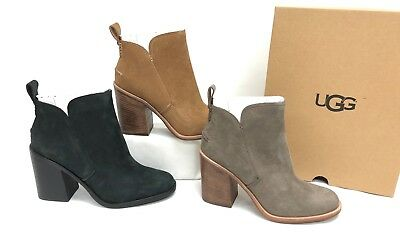 - UGG Australia Pixley Ankle Boot Bootie Stacked 1095057 Mysterious Black Chestnut