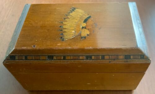 Estate Find:  Antique small inlaid humidor with  Indian motif