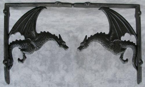 2 GOTHIC DRAGON CAST IRON WALL CORNER SHELF BRACKETS