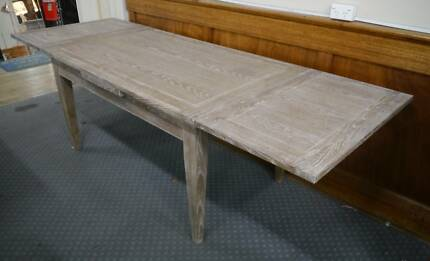 New Grey Wash Oak Timber Barista Extension Dining Table