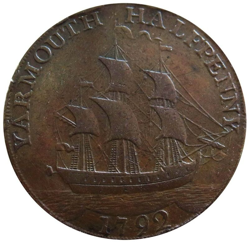 1792 GREAT BRITAIN NORFOLD YARMOUTH 1/2 PENNY FULL RIGGED SHIP TOKEN D&H 52