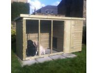 Large Dog Kennel & Run 8ft x 4ft Fully T&G Tanalised.