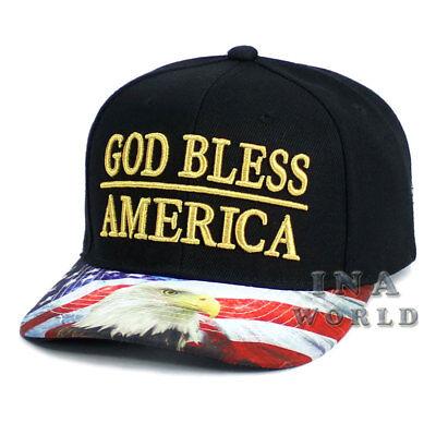 USA American Flag hat GOD BLESS AMERICA Snapback Flag bill Baseball cap- Black