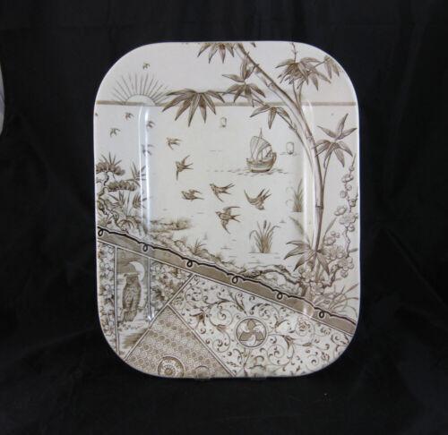 Aesthetic Brown Transferware Platter - Melbourne 1881