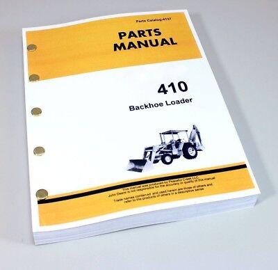 Parts Manual For John Deere 410 Tractor Backhoe Loader Catalog Numbers
