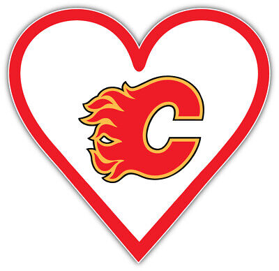 Calgary Flames Heart NHL Sport Car Bumper Sticker Decal -