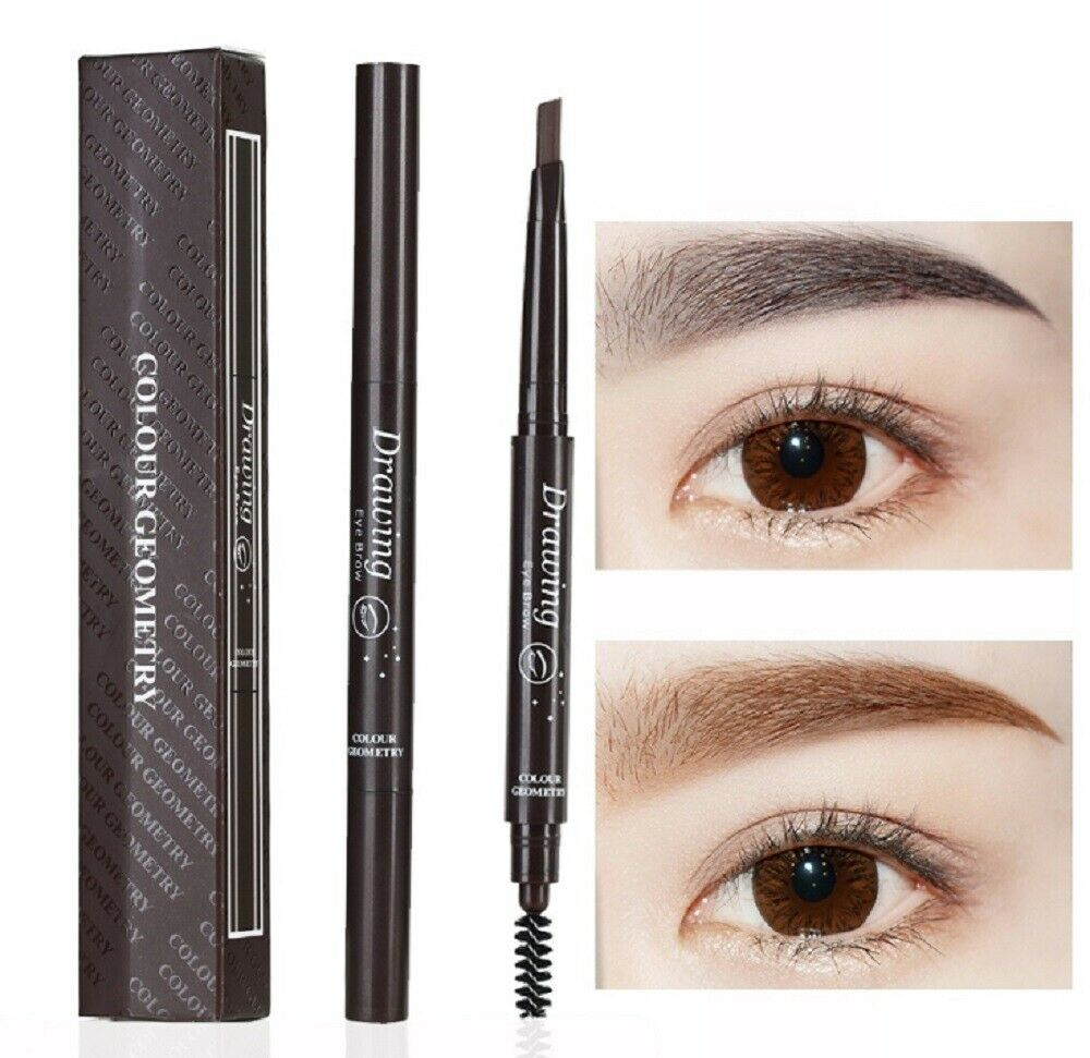 2 Pack Eyebrow Pencil Retractable Slant Tip with Brush Double-end Waterproof US Eyebrow Liner & Definition