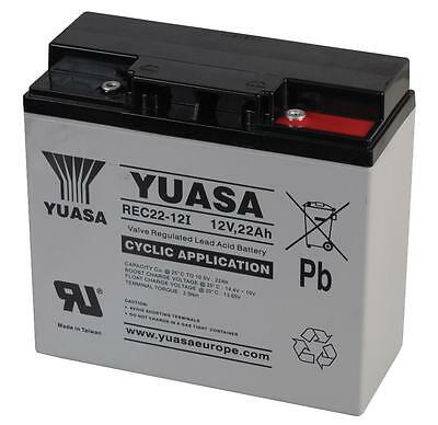 YUASA REC22-12 12V 22Ah GOLF TROLLEY BATTERY (18 Holes) MOCAD, FRASER, HILLBILLY