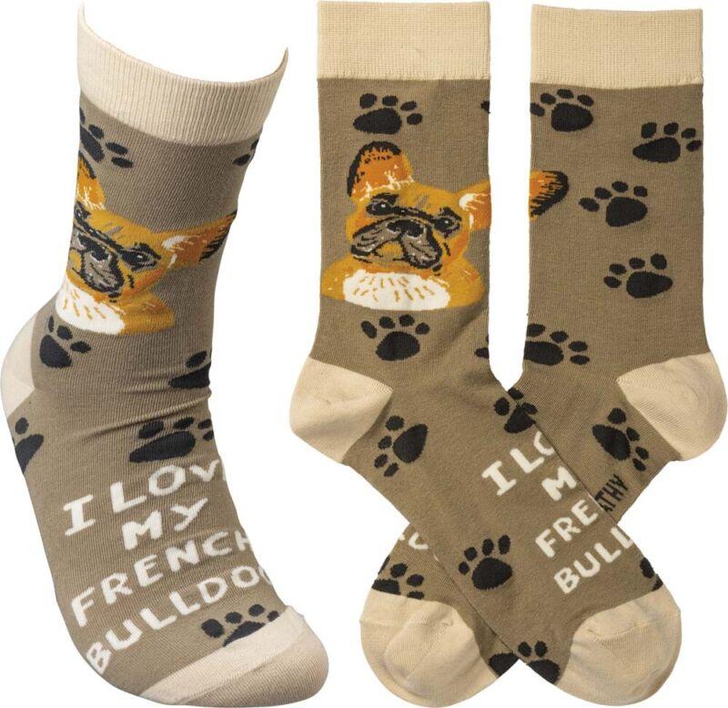 French Bulldog I Love My Dog Socks
