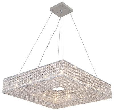 New 12 Light Crystal Pendant Chandelier Square Shade Ceiling Helsinki Dia 24