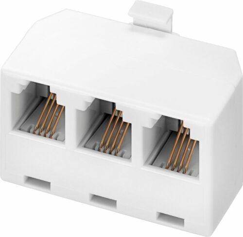 Insignia - 3-Way Phone Landline Cord Splitter - White