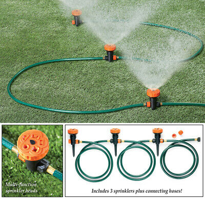 Portable Sprinkler (Set of 3 Multi-Function Portable Garden Lawn Sprinkler Head System)