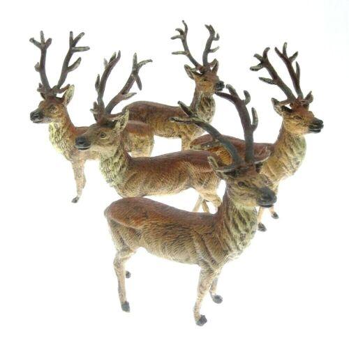 5pc Set Putz Vintage Germany Reindeer Deer Stag Nativity Figurine Metal