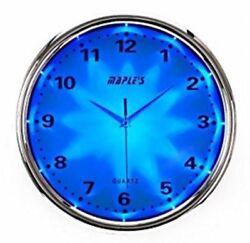 Maple's Blue LED Style Wall Clock 12  Plastic Nite Time LED Lit Silver LMC121